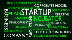Startup, incubator word tag cloud - green, English variant Stock Footage