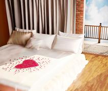 Heart from petals of roses on bed. Stock Illustration