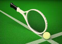 Tennis; rackets; sphere; court; game. Stock Illustration
