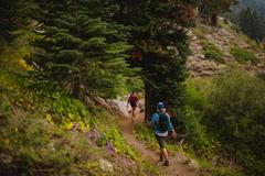 Two women hiking along path, rear view, Mineral King, Sequoia National Park, Stock Photos