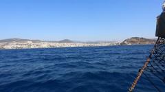 View of the island of Kusadasi. Fortress on the island in Kushadasi, Turkey Stock Footage