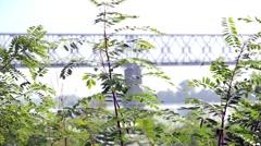 Railway bridge across the Dnepr River. Misty morning Stock Footage