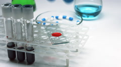 Blood testing and analysis Stock Footage