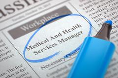 Medical And Health Services Manager Hiring Now. 3D Stock Illustration