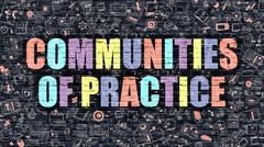 Communities of Practice in Multicolor. Doodle Design Stock Illustration