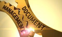 Document Management on Golden Cog Gears. 3D Stock Illustration
