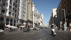 Gran Via with heavy traffic Stock Footage
