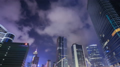 Time-lapse of Building in Hong Kong city at night, China Stock Footage