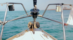 Prow of a sailboat that sail in mediterranean sea Stock Footage