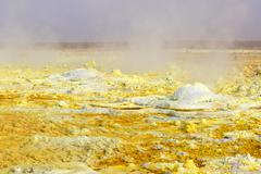 Inside the explosion crater of Dallol volcano, Danakil Depression, Ethiopia Stock Photos