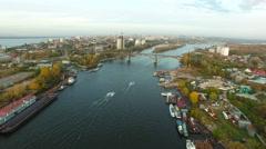 Aerial footage of Samara city docks Stock Footage