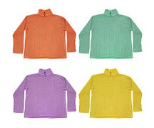 Set of multicolored wool sweaters isolated on white. Stock Photos