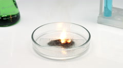Fail chemistry experiment with fire Stock Footage