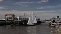 Yachts passing through Reedham Swing Bridge (2/4) Stock Footage