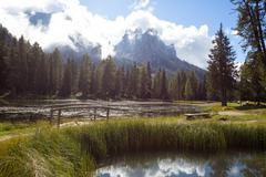Lago Antorno at the Dolomites Stock Photos