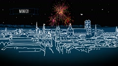 Munich Skyline by Night with Firework Intro Animation Stock Footage