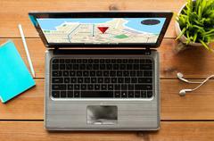Close up of laptop computer with gps navigator map Stock Photos