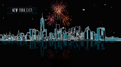 New York by Night with Firework Intro Animation Stock Footage