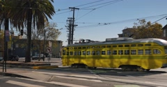 Streetcar Passes on Market Street in San Francisco  	 Stock Footage