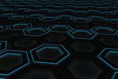 Wall of glowing hexagons Stock Illustration