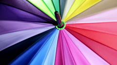 Colorful close up abstract of rainbow Umbrella Stock Footage