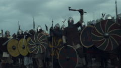 Army of Vikings Before Battle. Medieval Reenactment.  Stock Footage