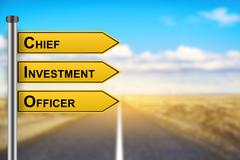 CIO or Chief investment officer words on yellow road sign Stock Photos
