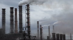 Industry Pipes Pollute the Atmosphere With Smoke Stock Footage