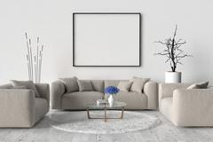 Living room - on the wall an empty picture frame Stock Illustration