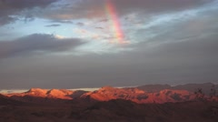 Desert landscape, Rainbow over Death Valley Stock Footage