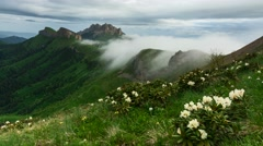 Time Lapse. Creeping clouds in Caucasus mountains. Stock Footage