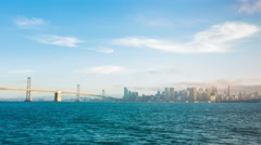 San Francisco Waterfront Skyline View Bay Bridge Zoom Out Day to Night Timelapse Arkistovideo