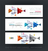 Set of modern horizontal website banners with blue, red, orange Stock Illustration