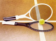 Tennis; rackets; sphere; court; game; ground. Stock Illustration