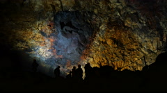 Tourists inside a dormant volcano, Iceland, 4k Stock Footage