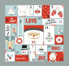 Christmas advent calendar cute decoration elements Stock Illustration