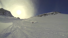 POV of skier skiing on snow covered mountain. Stock Footage