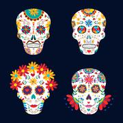 Day of the dead skulls for mexican celebration Stock Illustration