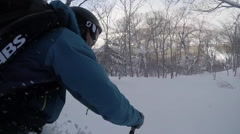 POV of a young man skier skiing on a snow covered mountain. Stock Footage