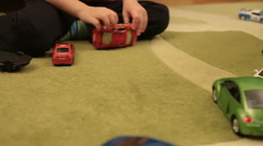 Two Guys Playing With Toy Cars Close Up Stock Footage