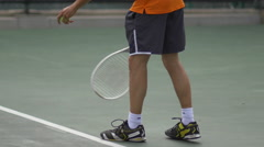 Tennis player practicing serve. Stock Footage