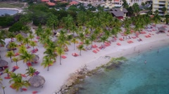 4K aerial overview of Blue Bay Beach, Curacao Stock Footage
