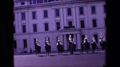 1967: people in uniform on the horses LONDON ENGLAND Stock Footage