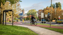 DELFT, HOLLAND - CIRCA OCTOBER 2016 - Delft university student cycle paths Stock Footage