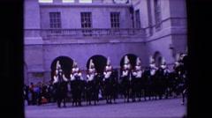 1967: british ceremonial royal guards on horseback LONDON ENGLAND Stock Footage