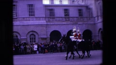 1967: amazing and colorful cavalry men performing before a crowd LONDON ENGLAND Stock Footage