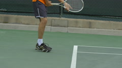 Tennis player practicing his return stance. Stock Footage