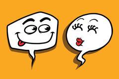 Couple love cartoon bubble face man woman Stock Illustration