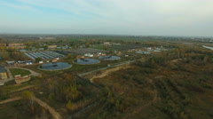 Aerial view of  Wastewater treatment plant. Stock Footage