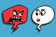 Anger comic bubble face man woman Stock Illustration